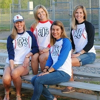 3/4-Sleeve Monogram Baseball Stitch Raglan Tee