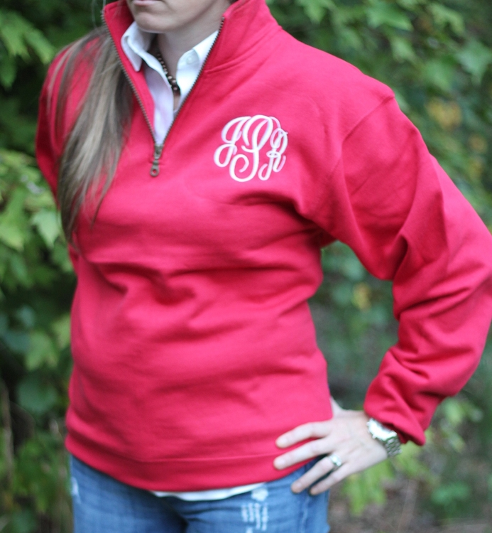 Red Quarter-Zip Sweatshirt Pullover