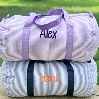 Monogrammed Personalized Seersucker Duffel Bag
