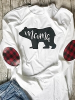 Mama Bear Buffalo Plaid Elbow Patch Shirt