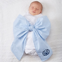 Monogrammed Infant Baby Seersucker Bow Swaddle Sash