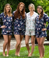 LONG SLEEVE COTTON FLORAL PJ SHORT SET
