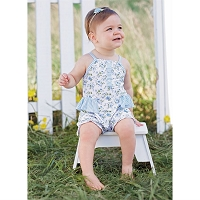 BLUE FLORAL RUFFLE BUBBLE by Mud Pie