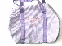 Lilac Ballet Seersucker Duffel Bag with ALEXANDRIA