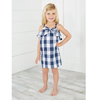 BLUE & WHITE GINGHAM BOW DRESS by Mud Pie