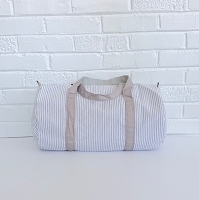 Gray Seersucker Duffel Bag