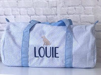 Light Blue Blue Seersucker Dog Duffel Bag