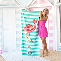 Monogrammed Stripe Flamingo Beach Towel