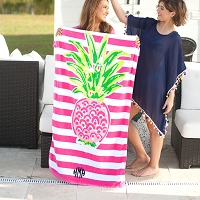 Monogrammed Pink Pineapple Beach Towel