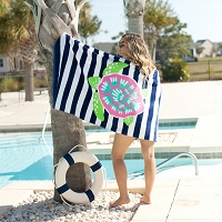 Monogrammed Stripe Turtle Beach Towel
