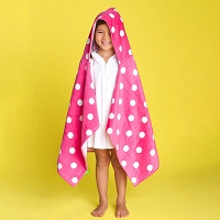 Personalized Pink Polka Dot Hooded Children's Towel