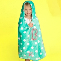 Personalized Mint Polka Dot Hooded Children's Towel