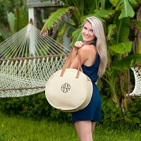 Monogrammed Natural Round Tote