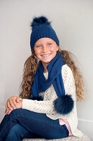 Navy Bella Kids Pom Pom Hat & Scarf SET