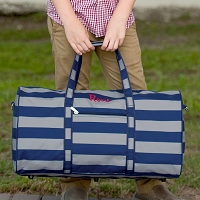 Personalized Gray & Navy Stripe Duffel Bag