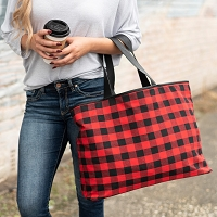 Personalized  Red Buffalo Check Ally Tote