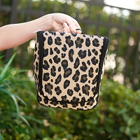 Monogrammed Wild Side Leopard Hanging Toiletry Travel Case
