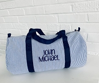 Navy Blue Seersucker Duffel Bag