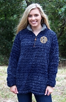 NAVY FROSTY FLEECE QUARTER ZIP SHERPA PULLOVER WITH POCKETS