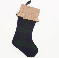 Blue Green Plaid Stocking with Ruffle