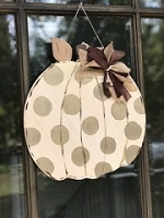 Metallic Polka Dot Pumpkin Door Hanger