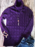 Purple Cable Knit Sweater Tunic