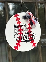 There's No Place Like Home Home Baseball Door Hanger