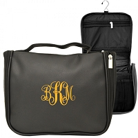 BLACK LEATHER MENS' TOILETRY BAG