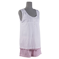 Bliss Sleep Top & Short Set in Pink/White - Large