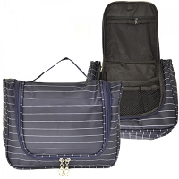 BLUE PINSTRIPE TOILETRY BAG