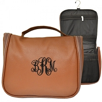 BROWN LEATHER MENS' TOILETRY BAG