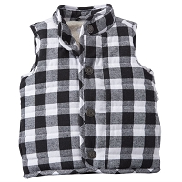 BLACK & WHITE BUFFALO CHECK VEST by Mud Pie