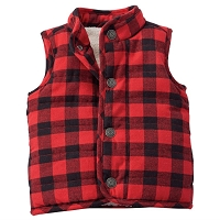 RED & BLACK BUFFALO CHECK VEST by Mud Pie