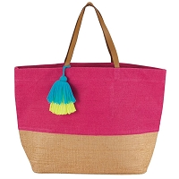 COLOR POP JUTE TASSEL TOTE BAG IN PINK BY MUD PIE
