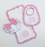 Monogrammed Gingham Bow Diaper Cover