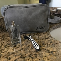 Gray Leather Dopp Toiletry Bag
