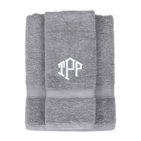 Cool Gray Monogrammed Bath & Hand Towel Set