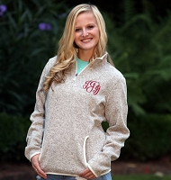 WOMEN'S OATMEAL HEATHERED FLEECE PULLOVER