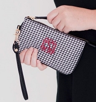 Mini Gameday Wristlet in Houndstooth