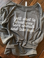I Just Want To Drink Wine Slub Shirt