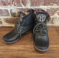 Monogram Black Short Duck Boots