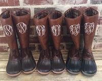Monogrammed Tall Brown Duck Boots