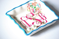 Turquoise Ruffle Square Jewelry Dish
