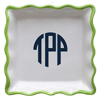 Lime Ruffle Square Jewelry Dish