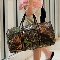 PERSONALIZED WOODS CAMO DUFFEL BAG