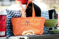 Orange  Scattered Polka Dot Ultimate Tote