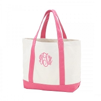 Pink Canvas Boat Tote
