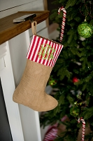 Stripe Burlap Stocking