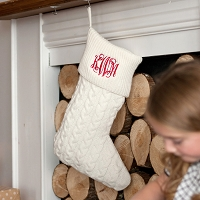 Creme Cable Knit Christmas Stocking