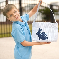 Blue Cotton Tail Easter Basket
